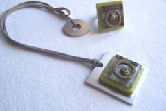 Collier carré inox et céramique anis - Bague assortie