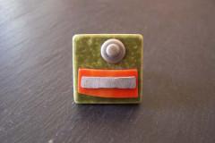 Bague «Tendance acidulée» céramique kaki/orange/métal