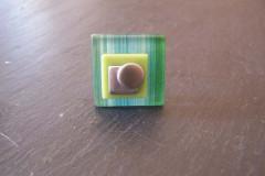 Bague «Tendance acidulée» verre rayé turquoise/anis