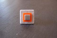 Bague «Tendance acidulée» céramique grise/orange