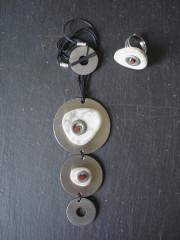 Création originale - Collier triple ronds inox/gris - Bague assortie
