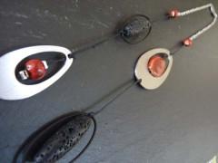 Sautoir inox Rouge et noir