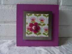 Cadre 15x15 rose fleuri