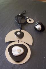 Création originale - Collier double lune/rond inox céram. noir/gris - Bague assortie